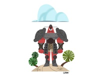 Red guy under cloud, mad, not sad
