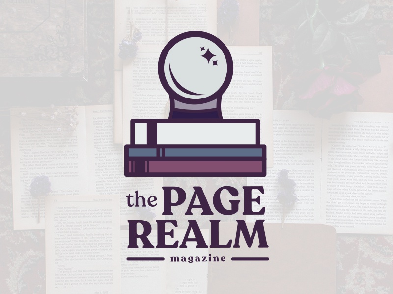 The Page Realm crystal ball witch magazine branding logo