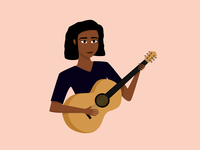 Lady Playing Guitar musique music guitare guitar woman lady illustration affinity designer