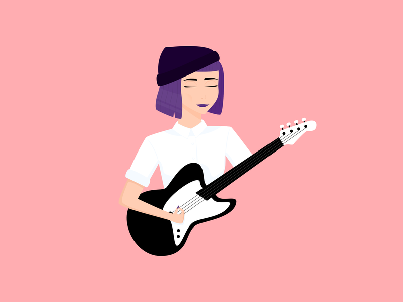 Bass guitar electric electric guitar bass music musique illustration lady woman affinity designer