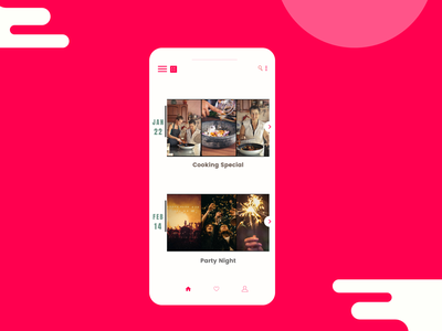Event listing! red simple party events listing listings event mobile web unique inspiration creative popular modern dribbble design challenge dailyui 070
