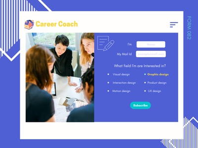 Form daily ui ui web mobile coach career subscribe form purple blue 082 creative popular modern design
