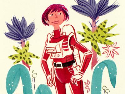 Spacewoman Considers spacepeople watercolor gouache painting