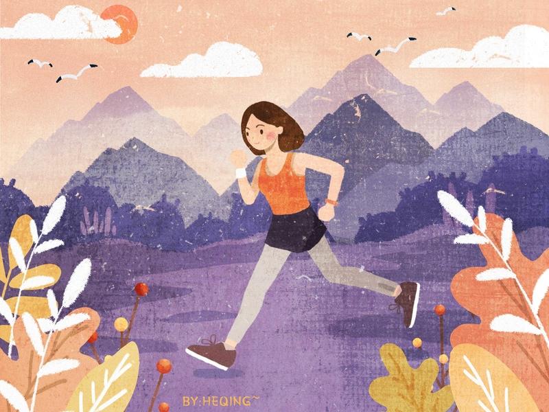 Morning run autumn illustration design