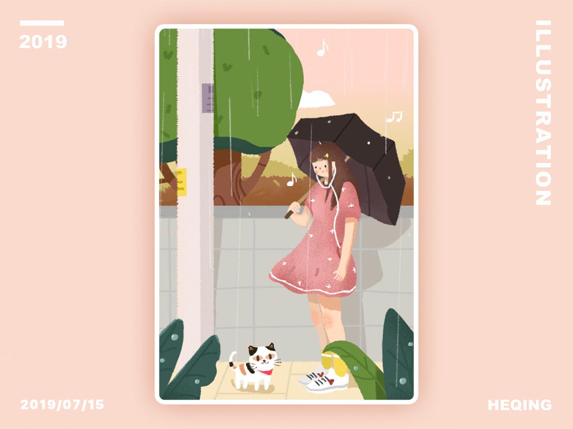Rainy day 插图 design ui dribbble