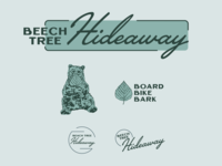 Beech Tree Hideaway beech tree leaf rental mountains vacation bear branding design logo illustration