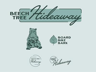 Beech Tree Hideaway beech tree leaf rental mountains vacation bear branding design logo illustration