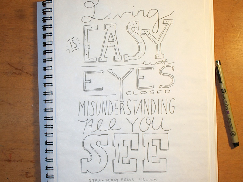 Strawberry Fields hand lettering lettering beatles lyrics fun sketch