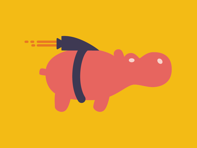 Super Hippo jetpack super icon mark logo hippo