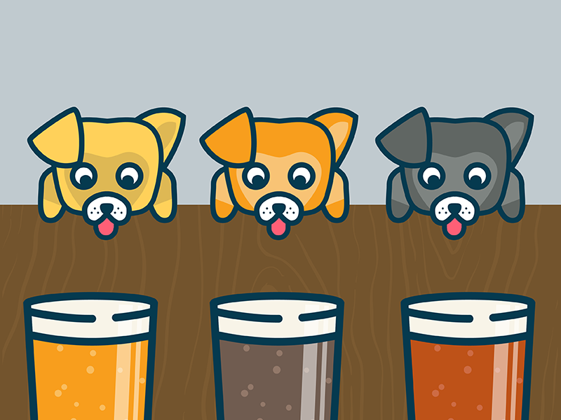 Pints and pups thirsty wood puppy dog pup pint beer illustration