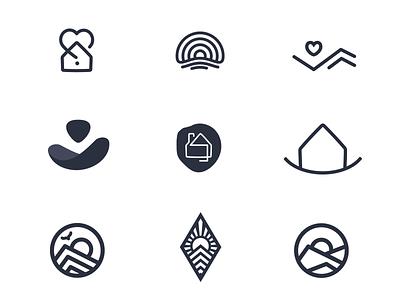 Logo Ideas sunrise house icons mountains sun love home ideas design vector logo