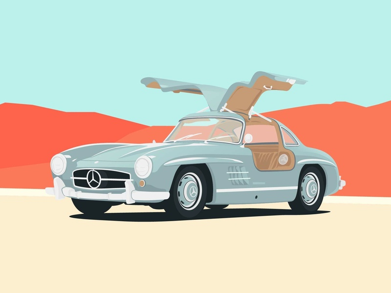 1956 Mercedes Benz 300 SL Gullwing minimalist automotive illustration art car club vector mercedes benz classic cars cars illustration