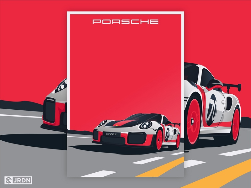 Porsche 911 GT2RS vector art vector minimalist poster digital art automotive gt2rs illustration 911 porsche