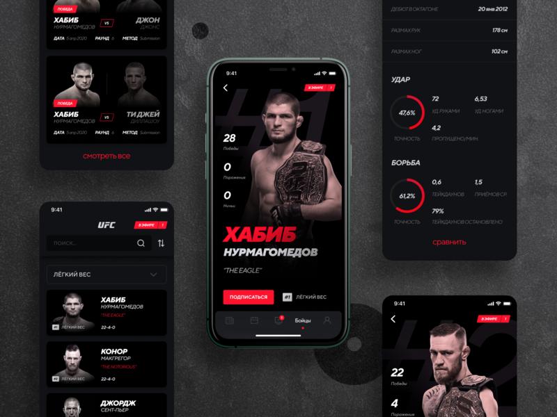 UFC app redesign dashboard features ufc habib konor fighters profile mma fight black vector ios gradient dark ux ui sketch creative design app