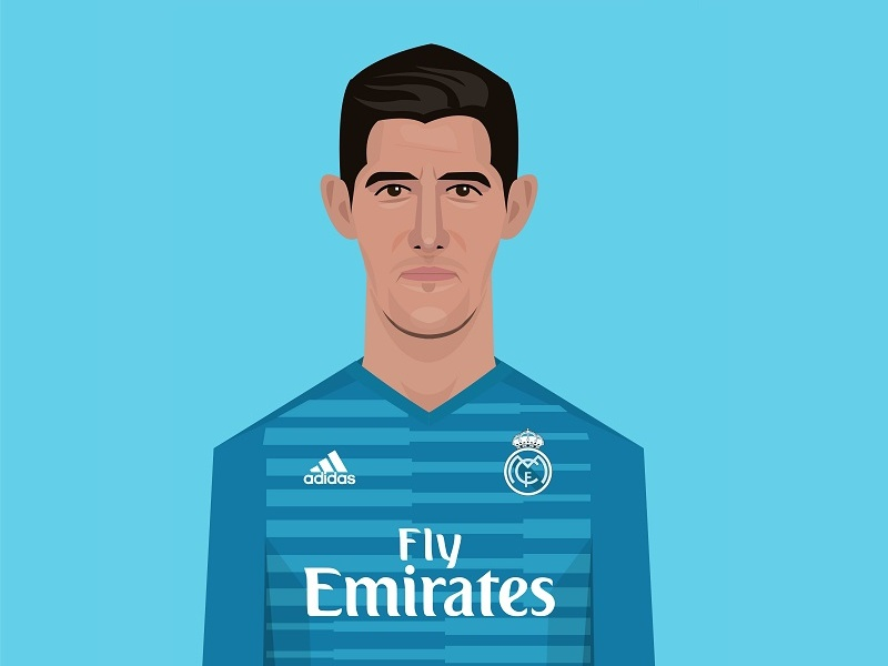 Courtois Rm Small caricature illustration portrait devils red belgium real soccer football madrid courtois