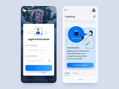 Flock Social - Mobile App 1 clean gradient business dashboard ui dashboad illustration app design socialmedia