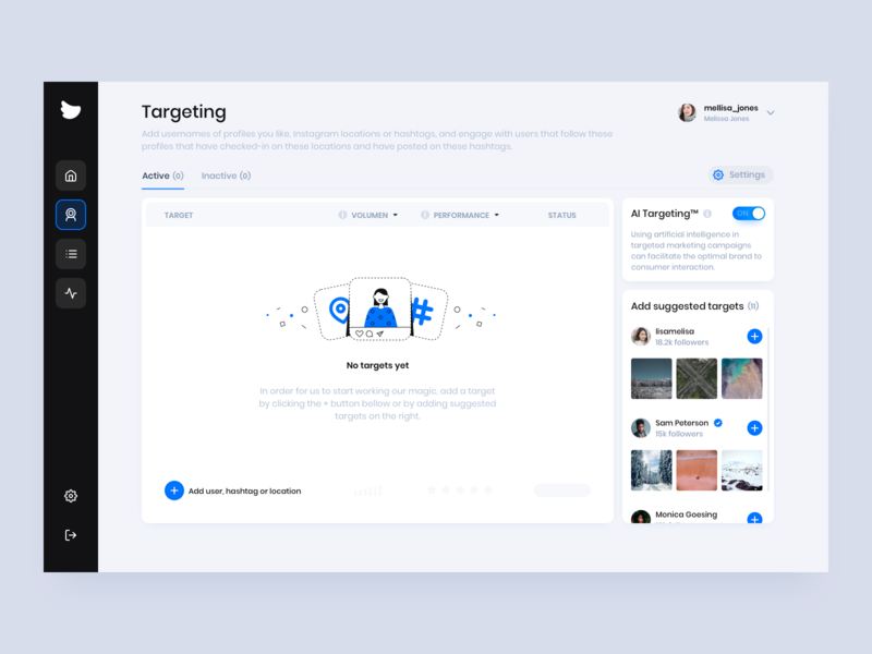Flock Social - Targeting Dashboard platform user interface socialmedia clean ui design illustration business dashboad