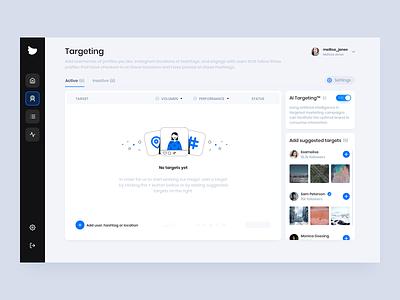 Flock Social - Targeting Dashboard platform user interface socialmedia clean ui design illustration business dashboad