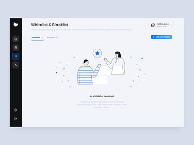 Flock Social - Whitelist & Blacklist platform design light illustration clean ux ui design app business dashboard ui dashboard