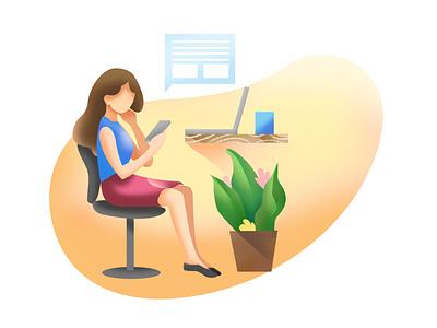 Office lady graphicdesign digitalart women ui drawing office illustrator flat character art vector design illustration