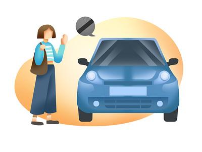 Take a taxi car women vector ui illustrator graphicdesign flat drawing digitalart design character art illustration