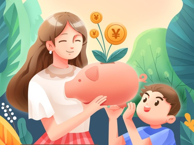Save money for the next generation plant kid money women vector illustrator graphicdesign flat drawing digitalart design character art illustration