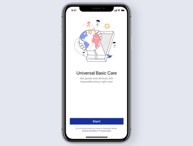 Universal Basic Care branding logo ios illustration application vector ui ux mobile sketch