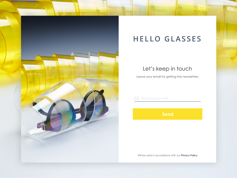 Newsletters dialog for Hello Glasses input mail hello glasses privacy newsletter plastic desctop glass fashion ui ux
