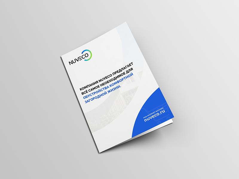 Bi-fold brochure for constructing company nuveco corporate print brochure