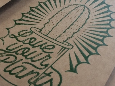 Dirtying my hands with silk! serigrafia silkscreen green plants cactus retro letters vintage lettering illustration