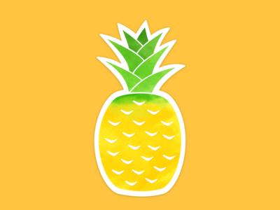 Pineapple Summer Sticker pineapple watercolor print sticker