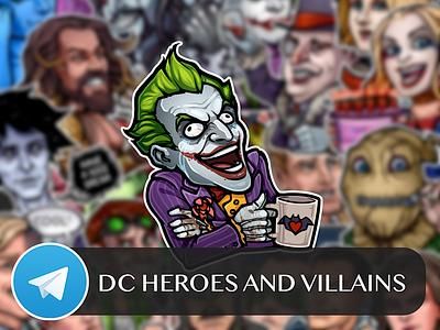 DC Heroes and Villains Telegram Sticker Pack justice league superman batman joker watchmen dc