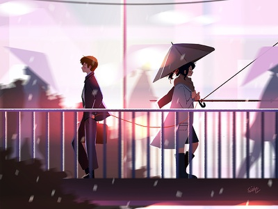 Red Thread concept art your name kimi no nawa fan art city lights characters environment design city lights romance anime