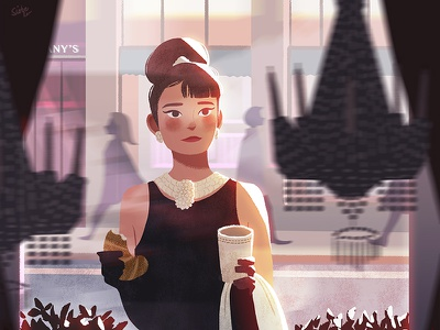 Breakfast at Tiffany's hollywood coffee fan art concept art audrey hepburn breakfast at tiffanys holly golightly character environment design vintage movies
