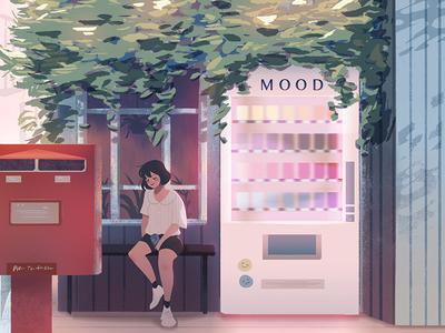 Mood Machine digital art anime background concept art illustration lights environment