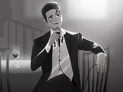 The Death of a Bachelor digital art panic at the disco concept art brendon urie lights bnw black and white environment character