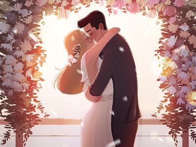 I Do romance wedding characters photoshop lights sky digital-art plants environment