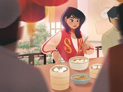 Casual Mulan illustration chinese food food chinese dimsum disney mulan procreate digital art fan art lights character environment concept art