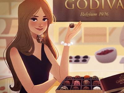 Godiva Chocolate food visual development visdev character design characters photoshop digital art character concept art lights environment
