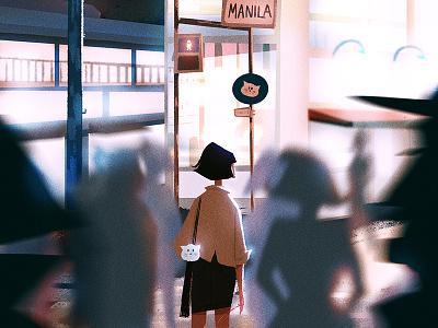 Memory Lane (Night Version) visual development visdev character design dessin digital art concept art lights environment