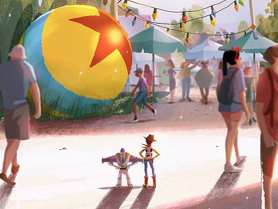 Partners visual development visdev toy story disney pixar characters illustration concept art lights environment