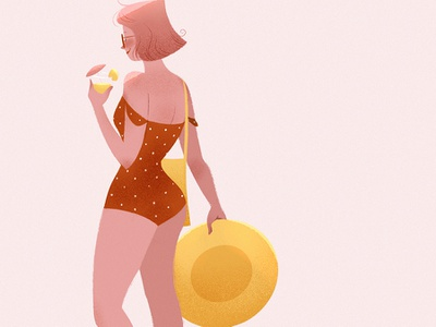 Pink Lemonade negative space photoshop procreate beach summer concept art visual development environment illustration character design digital art character lights