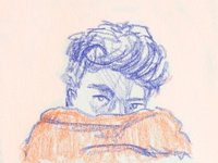 Quarantine hairstyle minimal pink sketchbook sketch illustration friend face hair quarantine