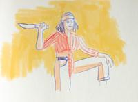 Pirate yellow pirate quarantine girl sketchbook funny simple illustration