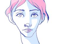 Self-portrait pink photohop colored pencil drawing self portrait self minimal simple illustration