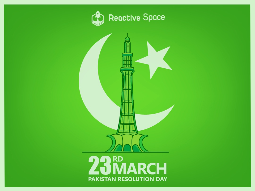 Pakistan Resolution Day vector minimal fatdesign flat drawing digital art artwork art adobe 2d architecture green landmark lahore pakistan illustrator illustration design