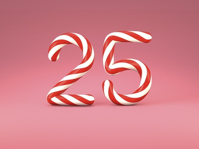 25 birthday anniversary cinema4d 3d numbers sweet candycane candy