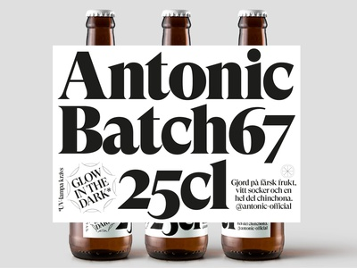Antonic Label black and white glow in the dark packaging one color blackandwhite black  white beer label typography tonic labeldesign label