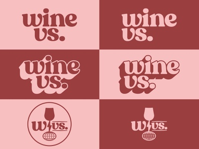 Wine VS. Logotype wine glass globe lightning flashlight sustainability climate change lecture versus vs wine recoleta alt recoleta branding logo 1970s 70s vintage identity typography logotype