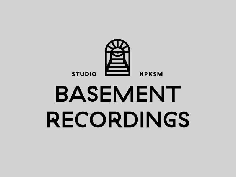 Basement Recordings 2 stairs basement cellar eye door badge design badge logo badge psychedelic typography logo identity design illustration logotype